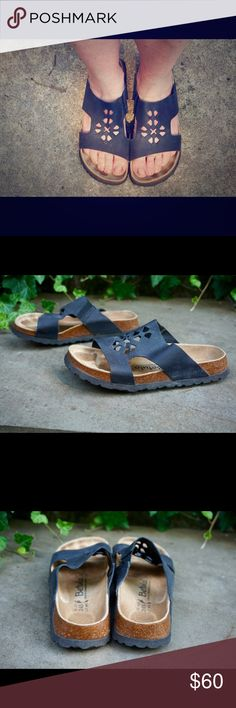 """Birkenstock Betula cut out design sandals L7 Black Great pair of Betula Birkenstock black leather sandals size L7! Great gently used condition, light signs of wear! Bundle 2 or more items and save 20%!! OR make me a reasonable offer via the """"Offer"""" button! Birkenstock Shoes Sandals"""