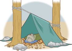 A TARP    When you have a tarp, sheet of plastic or Space Blanket with you, and some rope or cord, tie a line between two trees. Tie it low to the ground with just enough room for you to lie beneath. Stretch the tarp over the line. Place large rocks or logs on the ends of the tarp to hold it in place with the edges close to the ground. If it's snowing, tie the line off higher on the trees. Steeper walls will shed snow better. Now you have an emergency tent.