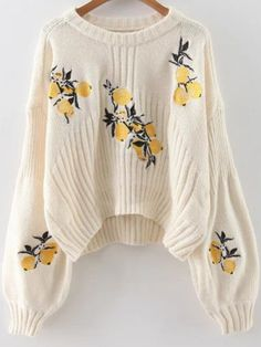 White Lemon Embroidery Lantern Sleeve Dip Hem Sweater