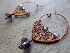Copper earring- copper wire earrings with Austrian purple grey crystal - copper jewelry - wire jewelry