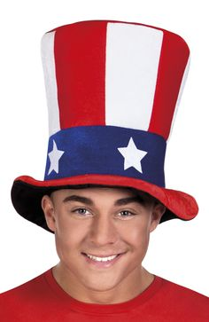 Stars and Stripe Uncle Sam Top Hat American Fancy Dress Marvel Dc, Oncle Sam, Jack Sparrow, Boutique, Fancy Dress, Captain Hat, Stars, American, Things To Sell