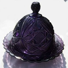 Vintage - Victorian Purple Glass Butter or Serving Dish with Domed Lid