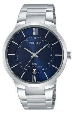 citizen eco drive watch stainless steel water proof men s blue pulsar watch