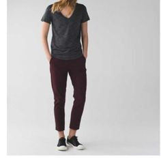 LULULEMON &go City Trek Trouser - Bordeaux size 10 LULULEMON &go City Trek Trouser - this listing is for color Bordeaux - size 10 I LOVE THESE PANTS.  I WEAR THEM TO THE OFFICE!!!  ❤️❤️❤️. Wore them today in black!  So comfy.  Other sizes and colors available shortly. lululemon athletica Pants