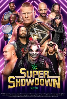 WWE Super Show Down 2020 Poster by Chirantha on Wrestling Posters, Wrestling Wwe, Wwe Wallpapers, Sports Wallpapers, Wwe Lucha, Wwe Events, Wwe Ppv, Wwe Nxt Divas, Clash Of Champions