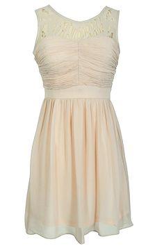 Lily Boutique Laser Cut Chiffon Dress in Bone, $42  www.lilyboutique.com