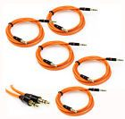 5X 3.5MM AUX MALE AUDIO EXTENSION CABLE CORD ORANGE FOR GALAXY S4 NOTE 2 3 NEXUS