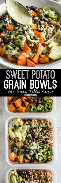 These Sweet Potato Grain Bowls with Green Tahini Sauce are prefect for meal prep and bursting with color, texture, and flavor! These Sweet Potato Grain Bowls with Green Tahini Sauce are prefect for meal prep and bursting with color, texture, and flavor! Vegan Meal Prep, Vegan Vegetarian, Vegetarian Recipes, Healthy Recipes, Healthy Foods, Whole Food Recipes, Dinner Recipes, Cooking Recipes, Budget Cooking