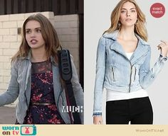 Lydia's denim moto jacket and floral print dress on Teen Wolf. Outfit Details: https://wornontv.net/16891/ #TeenWolf