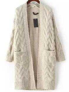 Grey Long Sleeve Cable Knit Pockets Cardigan -SheIn(Sheinside)