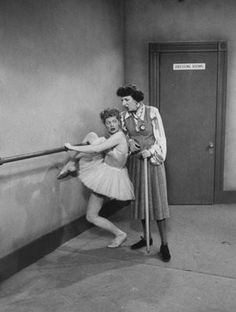 Actress Mary Wickes as a dance instructor, talking w. actress Lucille Ball, who is stuck in ballet barre in scene tv series I Love Lucy. Get premium, high resolution news photos at Getty Images Lucille Ball, I Love Lucy Show, My Love, Mary Wickes, Lucy And Ricky, Lucy Lucy, Whatever Forever, Favorite Tv Shows, My Favorite Things
