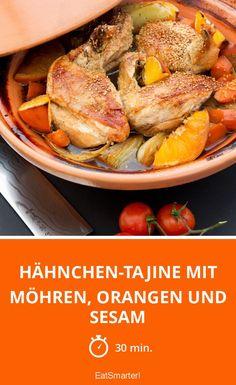 Hähnchen-Tajine mit Möhren, Orangen und Sesam - smarter - Zeit: 30 Min. | eatsmarter.de Tajin Recipes, Moroccan Beef, Vegan Challenge, Vegan Curry, Vegan Meal Prep, Vegan Thanksgiving, Vegan Kitchen, Eat Smarter, Different Recipes