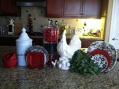 Kitchen Decor - Splash of red with rooster