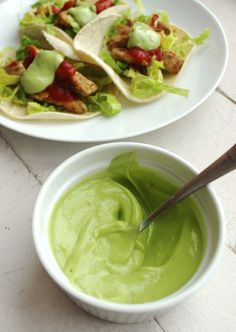 Avocado Cream- This dairy free sub for sour cream has all the airy creaminess of sour cream with the flavors of quacamole. It is just what dairy free tacos need to be complete. | WorthCooking.net