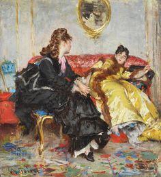 Two Ladies Sitting in an Interior Giovanni Boldini - circa Giovanni Boldini, John Singer Sargent, Architecture Tattoo, Impressionist Art, Artist Life, Animal Quotes, Interior Paint, Modern Art, Paris