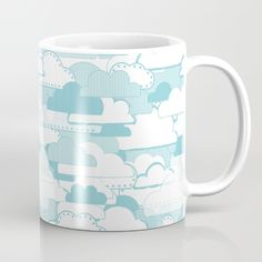 Clouds Mug - Cloud, clouds, cloudy, weather, stripes, dots, blue, pattern, vector, art, design, illustration, drawing