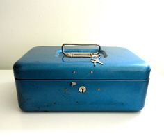 Industrial Metal Storage Box in Cool Blue by KimBuilt on Etsy, $18.00