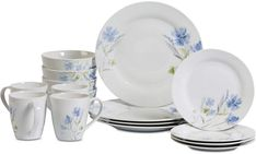 Tabletops Gallery Dinner Set White and Floral Pattern Dinnerware Set Wildflower - The Home Depot Square Dinnerware Set, Dinnerware Sets, Casual Dinnerware, Villeroy, Quality Kitchens, Dinner Sets, Cereal Bowls, Salad Plates, White Porcelain