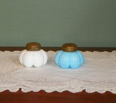 EAPG Antique Opaline Salt pepper SHAKERS Blue White Globe Bulging glass