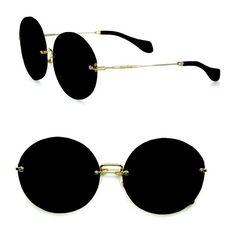 Miu Miu Retro Noir Round Acetate Sunglasses (6,755 MXN) ❤ liked on Polyvore featuring accessories, eyewear, sunglasses, glasses, jewelry, black, round, acetate sunglasses, logo sunglasses and retro round glasses