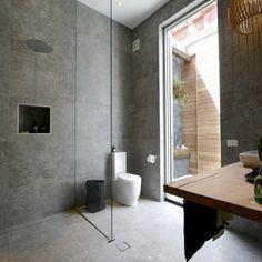 Brad & Dale's bathroom from The Block fans vs Favs The Block Bathroom, Downstairs Bathroom, Bathroom Renos, Laundry In Bathroom, Bathroom Interior, Modern Bathroom, Narrow Bathroom, Bathroom Grey, Bathroom Mirrors
