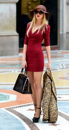 Glamorous red dress with leopard blazer... maybe nt the blazer bt still cute outfit