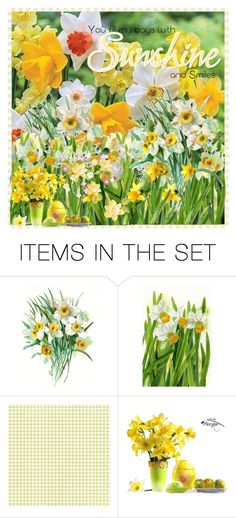 """You Fill My Days With Sunshine And Smiles"" by karolinewells ❤ liked on Polyvore featuring art, Spring, Easter, springday, daffodils and spring2018"