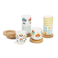 Coffret 6 tasses et soucoupes en porcelaine BRIGITTE   Maisons du Monde