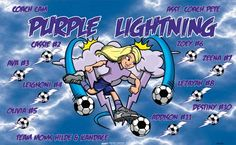 Purple Lightning B53530  digitally printed vinyl soccer sports team banner. Made in the USA and shipped fast by BannersUSA.  You can easily create a similar banner using our Live Designer where you can manipulate ALL of the elements of ANY template.  You can change colors, add/change/remove text and graphics and resize the elements of your design, making it completely your own creation.