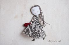 Art Doll Brooch Romantic Girl mixed media collage by miopupazzo