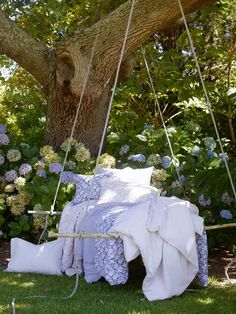 Shabby Chic Swing Bed with Lavender Ruffles Outside Living, Outdoor Living, Porches, Outdoor Spaces, Outdoor Decor, Relax, Cozy Place, Dream Garden, Garden Bed