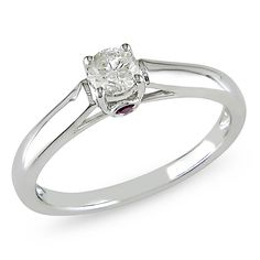 L'Amour Enrose by Miadora 14k White Gold 1/4ct TDW Diamond and Sapphire Solitaire Ring
