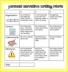 FREEBIE! personal narrative writing rubric
