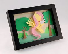 3-D MLP Fluttershy and Angel Bunny - Framed 5x7 Shadowbox Geek Paper Art My Little Pony Mane 6 Shadow Box on Etsy, $50.00