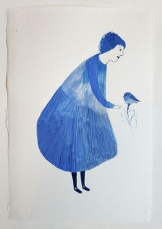 Lady 2 with bluebird - Original painting / Melodie Stacey