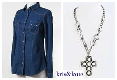 Vintage look dark denim shirt and the Cross pendant to go with in the new Deal of the Day!  https://www.krisandkate.com/dealoftheday.html