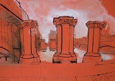 lucinda rogers drawing ink watercolour unbuilt bridge blackfriars thames red london city life