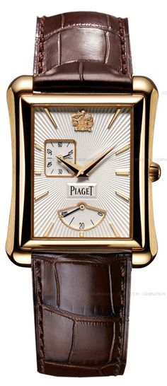 Piaget men's luxury and fine watchmaking watch: power reserve watch in rose gold - Black Tie Mens Watches Leather, Leather Men, Brown Leather, Pink And Gold, Rose Gold, Gentleman Watch, Square Watch, Vintage Watches, Luxury Watches
