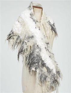 Silk & shaggy wool wrap