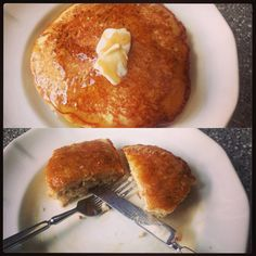 """As promised - pancakes. Made these for the photo series """"Processed Foods We Will No Longer Be Eating."""" And then I ate them. In other news -John says the Mets are crushing it - so that's happening. #auntjemimaandmrsbutterworthhaveleftthebuilding #bringontheEinkorn #goMets (!)"""