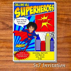 Super Hero Birthday Party Invitations. $17.99, via Etsy.