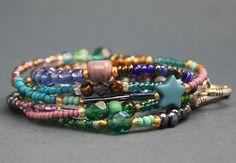 Armband Wickelarmband Kette Perlen Glasperlen Rocailles lila türkis grün grau LeneWithLove