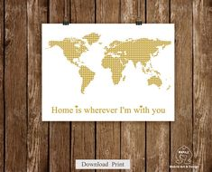 Instant Download World map art printLove gold world by MokileArt