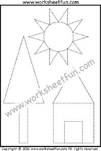 Picture Tracing – Shapes – Circle, Triangle, Square & Rectangle – One Worksheet