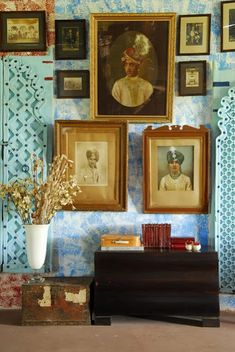 Gallery wall with antique prints on top of a patterned wall, tres chic- follow us on www.birdaria.com like it love it share it click it pin it!!!!