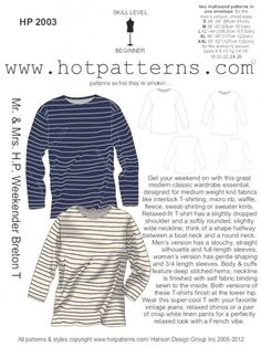 ...classic Breton T, perfect in stripes for year-round wear...strictly speaking, this is a 'unisex' pattern; but as men and women have very different body shapes, we've included separate patterns for men and women in this one...