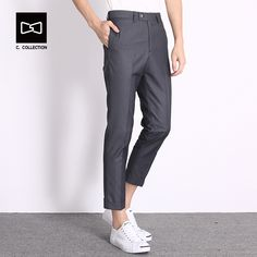 c5f4c422f6 2017 Men's Casual Pants Men Fashion Pants Trousers Slim Fit Ankle Length  Pants Spring Summer Straight Cool Men pants-in Skinny Pants from Men's  Clothing ...