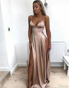 2019 Cheap Spaghetti Straps Side Split Simple Modest Sexy Prom Dresses Slit Formal Gowns Cheap Evening Gowns Source by FrederickLReza clothes outfits Cheap Formal Gowns, Cheap Evening Gowns, Cheap Dresses, Simple Dresses, Sexy Dresses, Summer Dresses, Long Dresses, Dress Formal, Modest Dresses