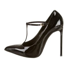 Pre-owned Saint Laurent Pumps (14.945 RUB) ❤ liked on Polyvore featuring shoes, pumps, heels, high heels, black high heel pumps, high heel stilettos, black patent leather pumps, t strap pumps and pointy-toe pumps