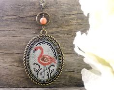 Hummingbird necklace Cross stitch hummingbird by TriccotraShop